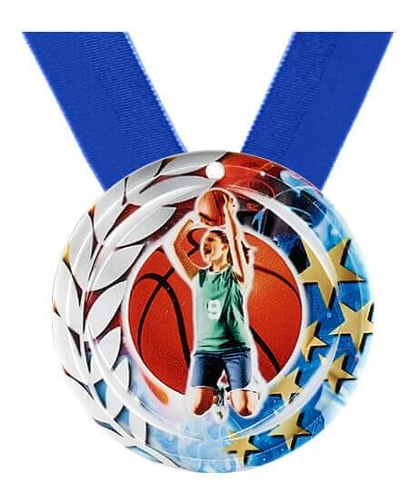 70mm Basketballerinmedaille inkl. blauem Band